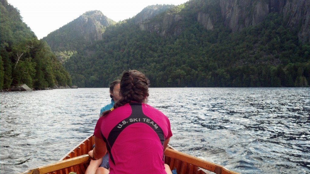 Heather graciously showed off her rowing skills as we headed across Lower Ausable Lake into the heart of the Adirondacks