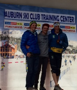 Spencer on the podium in the Snowshoe Thompson Classic.
