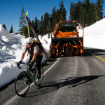 Doug Read heading cycling skate skis up Mt. Lassen